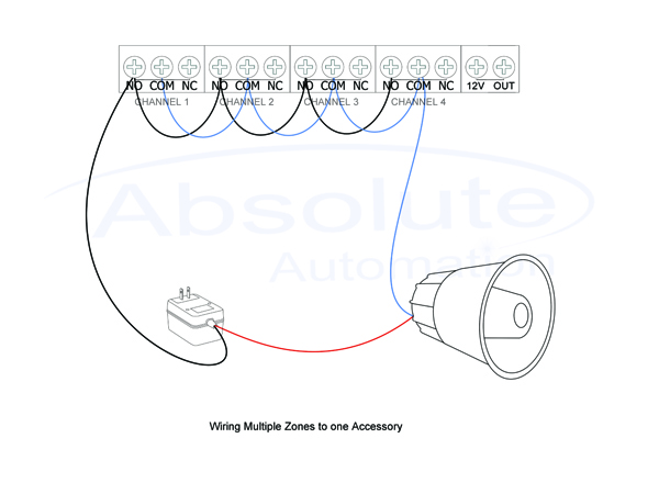 how can i wire a siren or strobe to activate from multiple zones on rh knowledgebase absoluteautomation com whelen siren wiring diagram pa300 siren wiring diagram